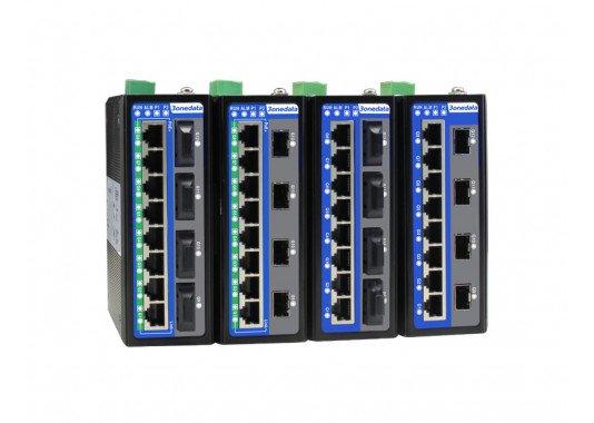 12-prievadų pilnai Gigabitiniai valdomi pramoniniai Ethernet komutatoriai (PoE pasirinktinai) IES6312